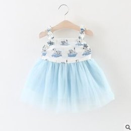 Wholesale Baby Clothes Wholesale Korea - Korea Girls Dresses Baby Girls Swan Tulle Sleeveless Dresses Cute Girls Cotton Princess Birthday Party Dress Boutique Clothing 625