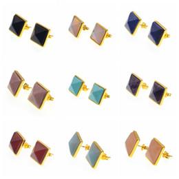 Wholesale Gemstones Stone Cabochon - Gold 14x14Mm Crystal Beads Cabochon Women Fashion Semi precious Stone Pyramid Gemstone Stud Earrings