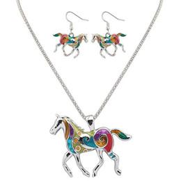 Ölfarbe gesetzt pferde online-Tier Schmuck Sets für Frauen hängende Schmuck Regenbogen Pferd mit Ölgemälde Muster Anhänger Halskette und Ohrringe Schmuck Sets