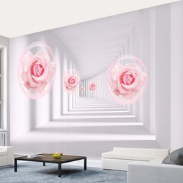 Wholesale Japan Tv Home - Custom 3D Wall Mural Wallpaper European Style 3D Pink Roses Living Room Sofa Bedroom TV Background Wall Home Decoration murals