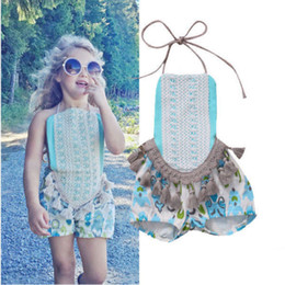 Wholesale Baby Girl One Strap Dress - Lace Toddler Strap Romper One-piece Jumper Jumpsuit Babies girl Dress Flower Outfit Posh Princess Clothes baby birthday Floral bubble romper