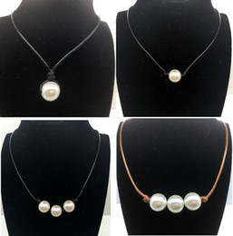 Wholesale Knotted Pearl Necklaces - Women Fashion Pearl Necklace Jewelry White Pearl Black Leather Rope Cord Choker Necklace Choker Slip Knot Imitation Freshwater Pearl Newest