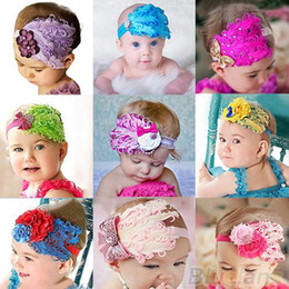 Wholesale Peacock Feather Hair Bands - Wholesale- 1pc Baby Girl Kids Infant Peacock Feather Headband Hair Band Hair Flower 07RD