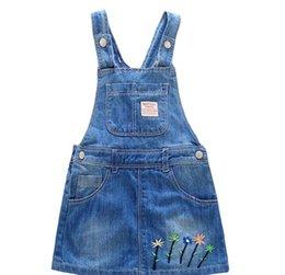Wholesale Kids Clothes Jeans Skirts - 2017 Summer Kids Skirt Children Girls Denim Dress Fashion Sleeveless Zipper Skirts Dresses Jeans Clothing 5 Pcs lot
