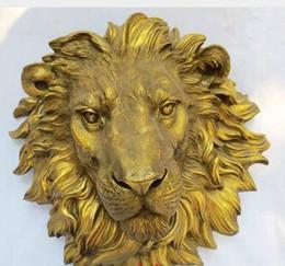 Wholesale Messing Crafted Human West Art reine Bronze Skulptur Schnitzereien wilde Raubtier Löwen Kopf Statue