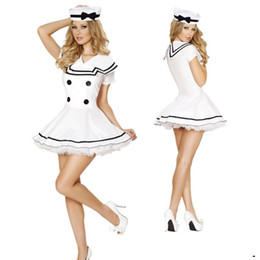Wholesale Sexy Police Girl Uniform - Beautiful White Lace Mini Dress Sexy Airline Stewardess Uniform Erotic Navy Costume Hat Sweet Angel Girls Carnival Cosplay
