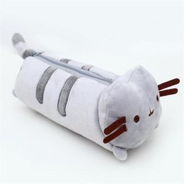 Wholesale Cute Animal Pencil Cases - Cute Cartoon Pusheen Accessory Case Pencil Pouch Cat Plush Toys Pen Bag Soft Kawaii Stuffed Animals Dolls Toys Pencil Case 23cm