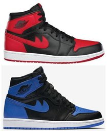 Wholesale Royal High Basketball - High Quality Retro 1 OG Bred Royal Blue Black All Star Basketball Shoes Men Retro 1s Fragment x Sports Sneakers With Shoes Box