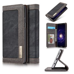 Wholesale Canvas Wallet Case - For Iphone X 8 7 Plus 6 6S Galaxy Note 8 S8 Plus S7 Edge CaseMe Case Wallet Leather Card Slot Canvas PC Skin Photo Magnetic Flip Cover Pouch