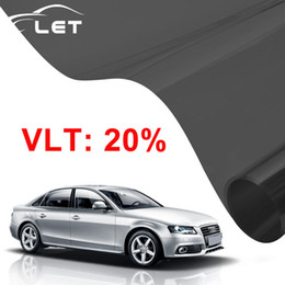 Wholesale Tint Rolls Wholesale - Wholesale- 50x 300cm Dark Black Car Window Tint Film Glass VLT 20% Roll 1 PLY Car Auto House Commercial Solar Protection Summer