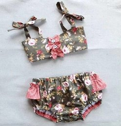 Wholesale Hot Children Bikini - 2017 new a Explosive Strips Floral Stretch Children Bikini AX 7604 Baby Swimwear Hot Cotton Blend