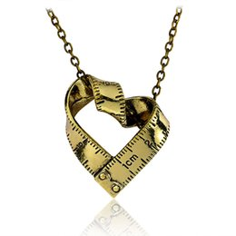 Wholesale Gift Measuring Tape - Twisted Ruler Heart Necklace Silver Gold plated Scale Steel Measuring tape Love Heart Pendants Women Mother Fashion Jewelry
