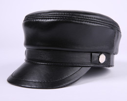 Wholesale Ball Hats - New fashion summer leather peaked cap baseball hat outdoor mens tourist cap