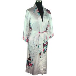 Wholesale Silk Plus Size Kimono Robe - Wholesale- White Women Bath Bath Robe Gown Ladies Faux Silk Sexy Kimono Sleepwear Nightgown Plus Size M L XL XXL XXXL Pijama Mujer LS0001A