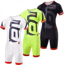 Wholesale cycling jersey skinsuit - Hot Summer cycling jersey Short Sleeve Cycling Skinsuit Unisex Triathlon invisible zipper tights conjoined cycling jumpsuits