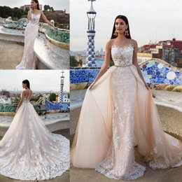 Wholesale wedding dresses detachable cathedral train - 2017 Sexy Mermaid Lace Wedding Dresses with Detachable Train Appliqued Sheer Neckline Beads Backless Trumpet Bridal Gowns