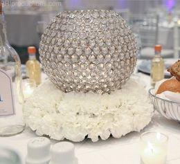 Wholesale Crystal Ball Wedding Centerpiece Wholesale - 4pcs  lot Diameter 20cm Silver Crystal ball centerpiece Wedding Party Crystal Candle Holder