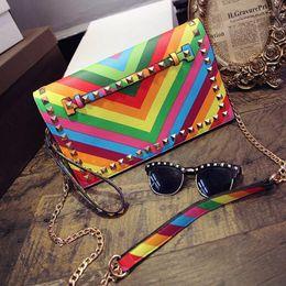 Wholesale Rainbow Designer - women envelope bags luxury brand designer rivet evening clutch bag Rainbow bag ladies chain crossbody bolsas fashion wristlet