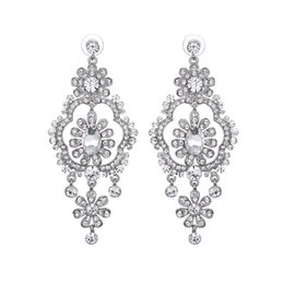Wholesale Kinder Party - 9 Kinds Silver Plated Long Crystal Drop Earrings For Women Bride Rhinestone Earrings Wedding Jewelry Accessories