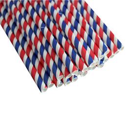 90 pz Cannucce di carta a strisce bianche e rosse decorative blu per feste di compleanno di festeggiamenti per feste da