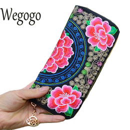 Wholesale Small Purse Double Zipper - Wholesale- Chinese Women Wallet National Double Faced Embroidered Floral Long Canvas Zipper Ethnic Coin Bag Small Purse Card Holder