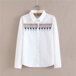 Wholesale Order Chiffon Blouse - YIMOSI Autumn Women Embroidery Blouse Shirt 2017 Casual Cotton Long Sleeve Female Shirts Lady White Tops Korean Blouse Blusas 1 order