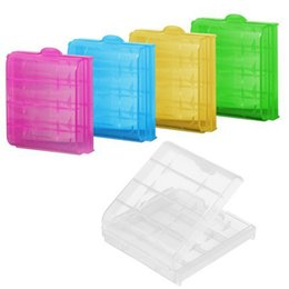 Wholesale box case aa - 5 pcs lot Coloful Battery Holder Case 4 AA AAA Hard Plastic Storage Box Cover For 14500 10440 Battery