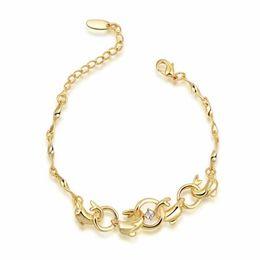 Wholesale Girls Jewlery - 18K Gold Single Diamond Bracelet Dolphin Chain Charm Bracelets Fashion DIY Jewlery For Girl Women 2060038505B