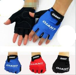 Wholesale Half Gloves Giant - Cycling Gloves Giant Half Finger Bicycle Bike Cycle Riding Anti Slip Gloves Outdoor Gym Gloves 2pcs pair OOA1768