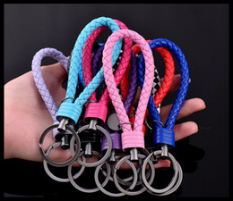 Wholesale Tungsten Green Ring - Tungsten steel key chain key ring creative hand-woven leather rope keychain men and women car hang ornaments wholesale
