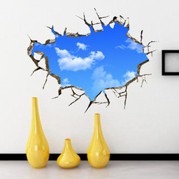 Wholesale Black White Modern Wallpaper - 3D Blue Sky and White Cloud Scenery Window Art Design Removable Wall Sticker Living Room Home decals Decor Wallpaper