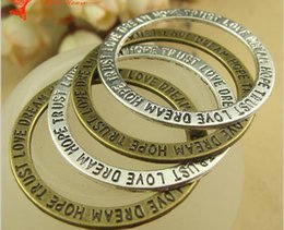 Wholesale Tibetan Silver Love Word Charms - 35MM 14MM Antique Bronze Dream Hope Trust Love word charms, tibetan silver metal round connector tag message pendants, vintage alloy charms