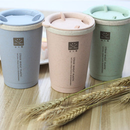 Wholesale Plastic Coffee Straws - Wholesale- 2017 Sale New Protein Portable Eco-friendly Healthy Wheat Straw Leak-proof Coffee Cup 280ml Water Bottle Camping Couple