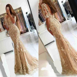 Wholesale Little Mermaid Celebrity Dresses - Champagne Lace 2017 Half Sleeves Mermaid Evening Prom Dresses Shee Neck Backless Evening Dress Long Backless Celebrity Cocktail Party Gowns