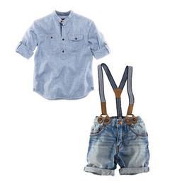 Wholesale denim suspenders - 2017 Boys Childrens Clothing Sets Blue Striped Shirts Denim Suspender Shorts 2 Pcs Set Long Sleeve Tops Kids Newest Enfant Clothes