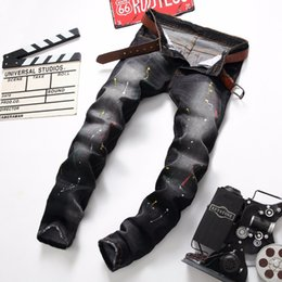 Wholesale Western Coats Plus Size - Wholesale-western style fashion brand men jeans designer ink washed straight cotton denim trousers nightclubs trend slim pants for men