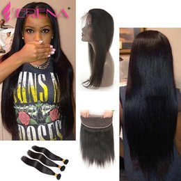 Wholesale Buy Cheap Human Hair - 7A unprocessed virgin brazilian hair with closure lace frontal closure with bundles straight Cheap Human Hair with frontal buy human hair
