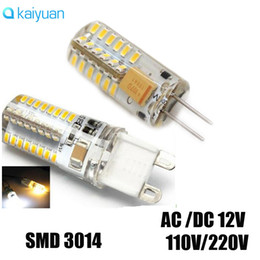 Wholesale Dimmable Led Candle Bulb 3w - hot sale G4 LED 12V AC DC 3W 5W Dimmable LED Lamp G4 24 48leds 3014 SMD G9 E14 64LED Bulb Lamp Ultra Bright 110V 220V