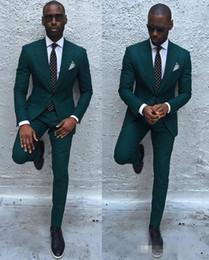 Wholesale Mens Black Dinner Suit - Dark Green Slim Men Suits 2017 Handsome Mens Dinner Party Wedding Suits Groomsmen Groom Tuxedos Party Prom Business Suits (Jacket+Pants)