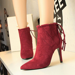 Wholesale Short Wedding Dress Boots - Sexy Nightclubs Lady Short Boot Dress Shoes Women High Heels Suede Festival Party Wedding Shoes Slim Formal Pumps Ankle Boots W16S149