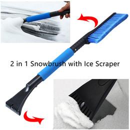 2020 limpador de janela de carro ferramenta 2 em 1 Snowbrush com as ferramentas limpas da janela da escova do inverno do veículo do carro do raspador do gelo 24 polegadas desconto limpador de janela de carro ferramenta