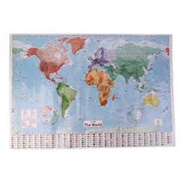 Wholesale Large World Poster - Wholesale- Large World Map Home Decoration Detailed Teaching Poster Wall Chart Paper Natural rubber Paper 98*68cm Map Of World