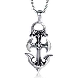 Wholesale Mens Anchor Necklaces - Fashion Jewelry Vintage Gothic Mens Womens Necklaces 60cm Chain Stainless Steel Anchor Pendant Necklace,Silver PN-231