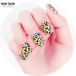 Wholesale acrylic short nails - Wholesale- 2016 New Fashion 24Pcs Leopard Short Fake Nails Unghie Finte Acrylic Nail Art Tips Sexy Nail Tips Full Cover Nail Art Decoration