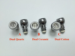Wholesale Coil For Dome Atomizer - Wax Coil Glass Globe Tank Vaporizer Dome Metal Wax Dual Ceramic Dual Cotton Dual Quartz Coil for Glass Globe Atomizer