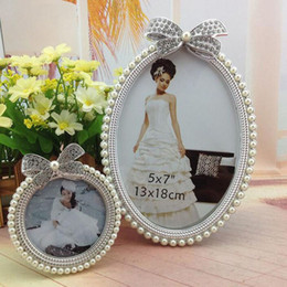 Wholesale Wholesale Picture Frames Sets - 3pcs set Delicate Handmade Pearl Bow Decoration Picture Frames Fashion Desktop Photo Frames Sets Birthday Wedding Gift ZA3701