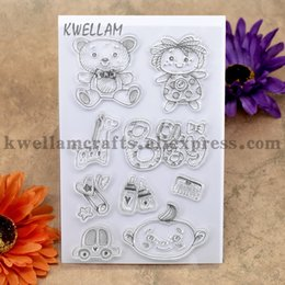 Wholesale Baby Boy Stamps - Wholesale- BABY Bear Bottle Car BOY GIRL Scrapbook DIY photo cards account rubber stamp clear stamp transparent stamp 10x15cm KW7030111