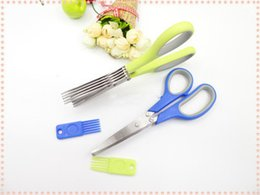 Wholesale Cheapest Wholesale Knives - DHL Cheapest!!! 5 Layers Blade Herb Scissors Multifunctional Kitchen Knives Sushi Shredded Scallion Cut Herb Spices Scissors Cooking Tools
