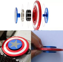 Wholesale Captain America Retail Box - Captain America Iron Man HandSpinner Fingertips Spiral Fingers Fidget Spinner EDC Hand Spinner Acrylic Metal Fidgets Toys Gyro Toys With Box