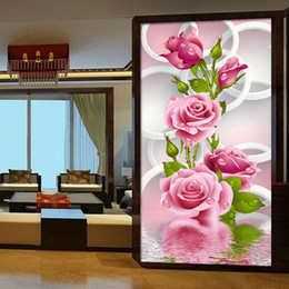 Wholesale Cross Stitching Flowers - 30*56cm Needlework 5D Diy Diamond Painting Cross Stitch Pink Rose Diamond Embroidery Flower Vertical Print Rubik's Cube Drill